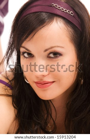 close-up portrait of pretty woman on white background - stock photo