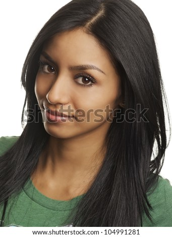 Close up portrait of pretty young woman's face.  Image isolated against white. - stock photo