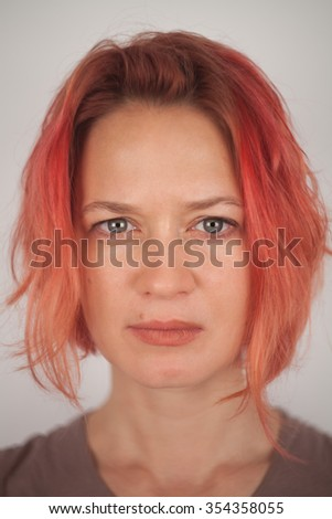 close-up portrait of red-haired woman.focus on the eyes