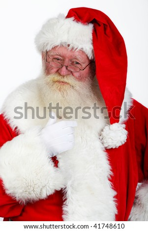 close up portrait of santa claus studio shot on white - stock photo