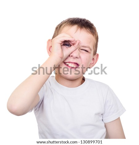 Close up portrait of searching boy. Isolated on white background - stock photo