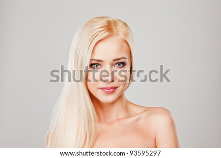 Close-up portrait of sensuality beautiful blond woman model face with fashion make-up - stock photo