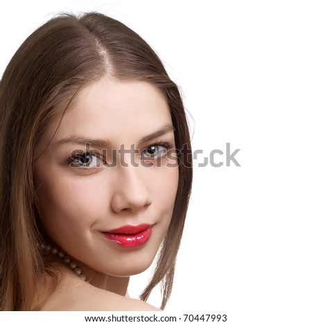 Close-up portrait of sexy caucasian young woman - stock photo