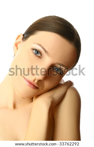 Close-up portrait of sexy caucasian young woman with beautiful eyes - stock photo