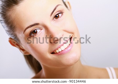Close-up portrait of sexy caucasian young woman with beautiful eyes isolated on white background