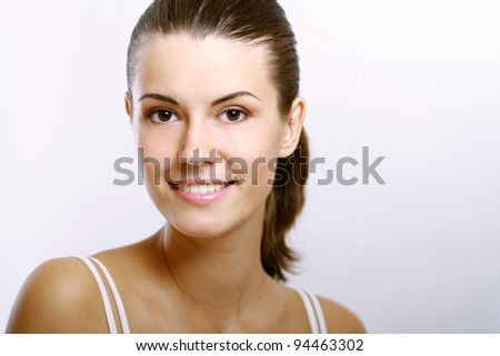 Close-up portrait of sexy caucasian young woman with beautiful eyes isolated on white background - stock photo