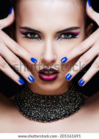 Close-up portrait of sexy caucasian young woman with glamour make-up