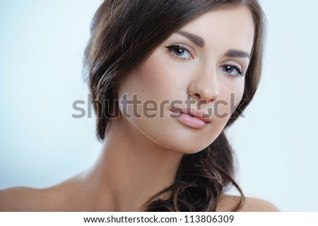 Close-up portrait of sexy caucasian young woman with perfect  health skin - stock photo