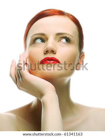 Close-up portrait of sexy caucasian young woman with red bright lips - stock photo