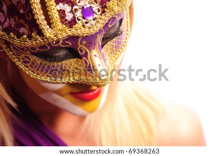 close up portrait of sexy woman in party mask isolated on white background - stock photo