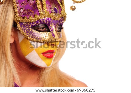 close up portrait of sexy woman in party mask isolated on white background
