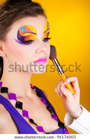 Close-up portrait of sexy woman with make-up - stock photo