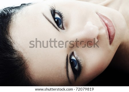Close-up portrait of sexy young woman with beautiful eyes - stock photo