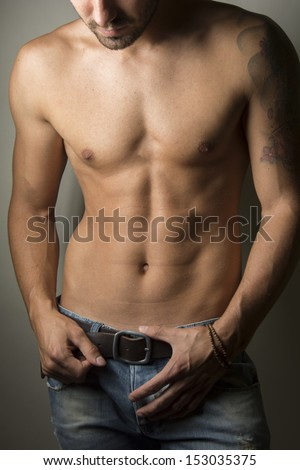 Close up portrait of shirtless handsome man  - stock photo