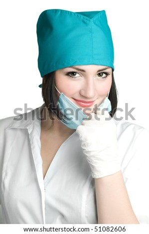 close up portrait of smile doctor in mask isolated