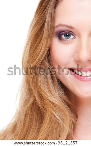 close-up portrait of smiley beautiful woman over white background - stock photo