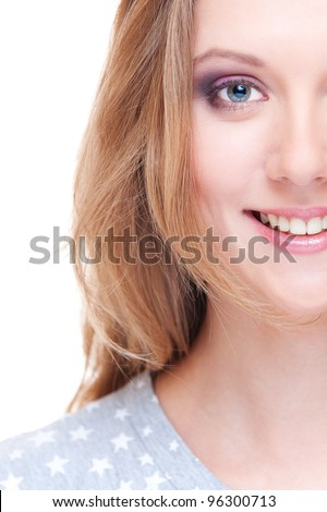 close up portrait of smiley blonde over white - stock photo