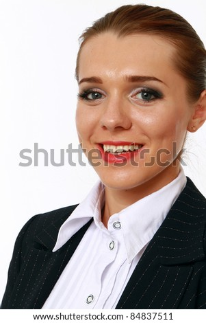 Close-up portrait of smiling businesswoman isolated - stock photo