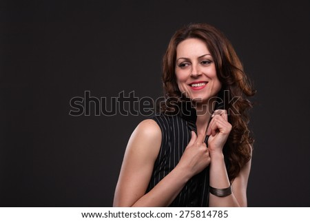 Close up portrait of smiling woman. - stock photo