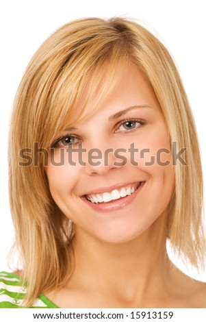 close-up portrait of smiling woman on white background