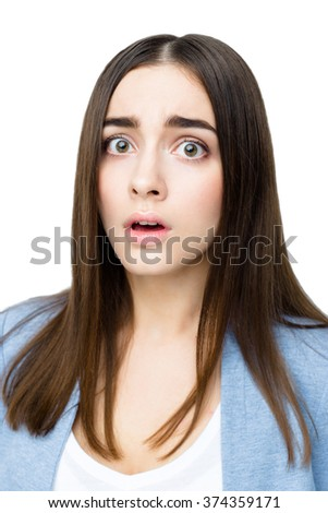 Close-up portrait of surprised beautiful woman in amazement and open-mouthed. Over white background. - stock photo