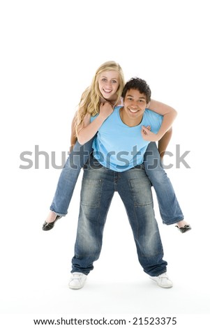Close-Up Portrait Of Teenage Couple, - stock photo