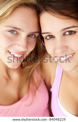 Close up portrait of teenage girls - stock photo
