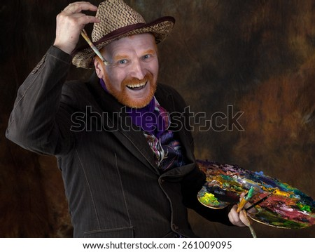 close-up portrait of the adult artist with red beard and mustache in the style of Vincent van Gogh studio on dark background - stock photo