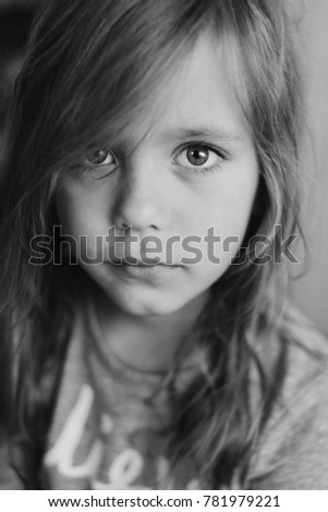 close up portrait of the pretty little girl
