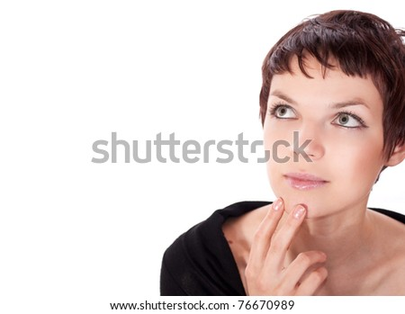 close up portrait of thoughtful beautiful young woman with dark hair isolated on white background. Looking up with her hand at her face. - stock photo