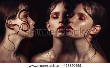 Close-up portrait of three women. Brown, golden makeup. Fancy Hairstyle.