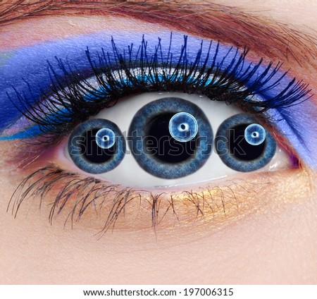 close-up portrait of unusual abnormal eye with tripple pupils - stock photo