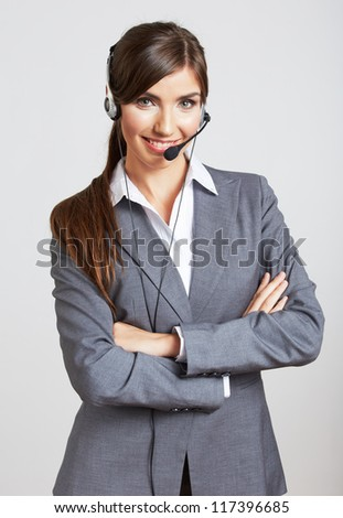 Close up portrait of Woman customer service worker, call center smiling operator with phone headset. Close up female model. - stock photo