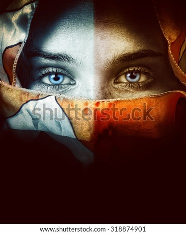 Close up portrait of woman with beautiful eyes and veil - stock photo