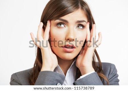 Close up Portrait of woman with headache - stock photo