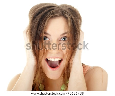 Close-up portrait of yong woman casual portrait in positive view - stock photo