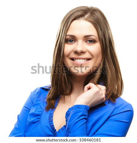 Close up portrait of yong woman casual portrait in positive view, big smile, beautiful model posing in studio over white background . Isolated on white. - stock photo