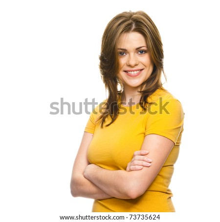 Close-up portrait of yong woman casual portrait in positive view, big smile, beautiful model posing in studio over white background . Isolated on white.