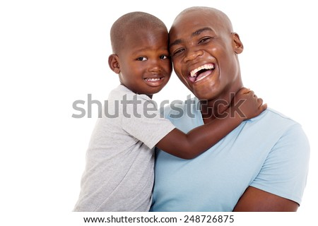 close up portrait of young african american father and son - stock photo