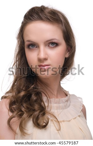 Close up portrait of young and Beautiful woman with  clear make up