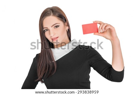 Close-up portrait of young attractive business woman holding credit card isolated on white background - stock photo