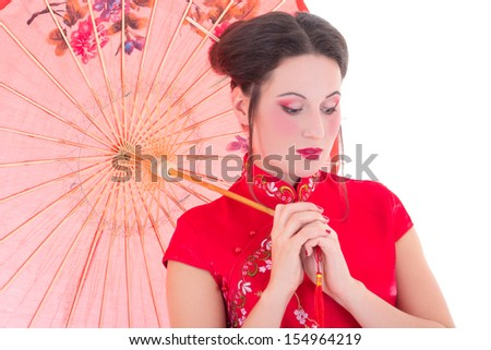 close up portrait of young attractive woman in red japanese dress with umbrella isolated on white background - stock photo