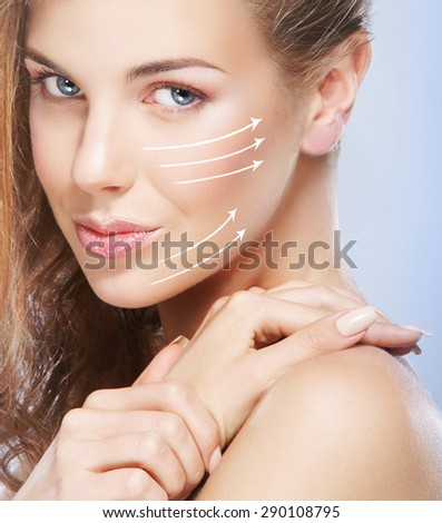 Close-up portrait of young, beautiful and healthy woman ready for a botox injection - stock photo