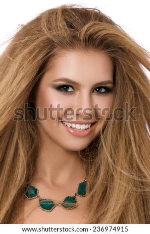 Close-up portrait of young beautiful smiling woman isolated on white background - stock photo