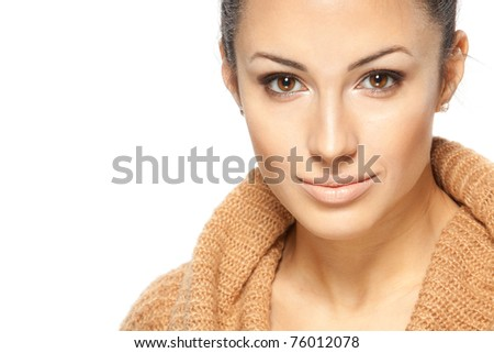 Close-up portrait of young beautiful woman isolated on white with copy-space - stock photo