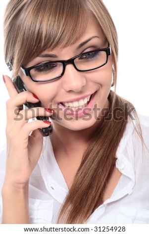 close-up portrait of young beautiful woman on mobile phone - stock photo