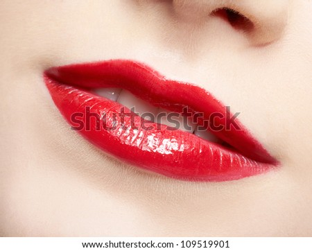 close-up portrait of young beautiful woman's lips zone make up - stock photo