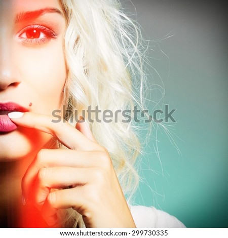 close-up portrait of young beautiful woman. Sexy blonde. Blond girl. Curly hairstyle.effects - stock photo