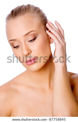 Close-up portrait of young beautiful woman. White background - stock photo