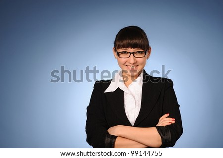 Close up portrait of young beauty business woman - stock photo